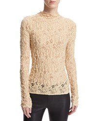 Helmut Lang Long Sleeve Embossed Lace Top Brown