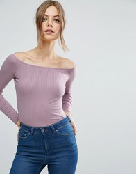 Asos Top With Off Shoulder In Rib Purple