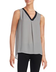 T Tahari V Neck Crepe Shell Grey