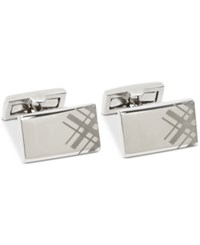 Ryan Seacrest Distinction Men's Engraved Plaid Cuff Links Created For Macy's Silver