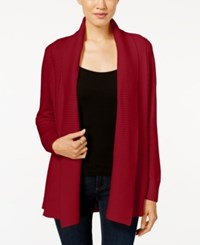 Charter Club Textured Shawl Cardigan Only At Macy's New Red Amore