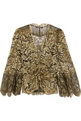 Roberto Cavalli Metallic Lace Jacket Gold