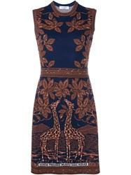 Valentino Sleeveless Giraffe Jacquard Dress Multicolour