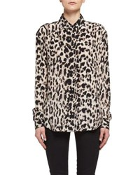 Saint Laurent Classic Leopard Print Silk Shirt Fauve Beigebrown