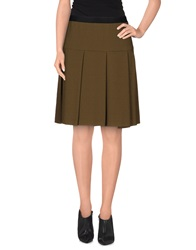 Gold Case Knee Length Skirts Military Green