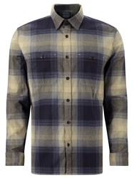 John Lewis And Co. Large Ombre Check Twill Shirt Blue Gold