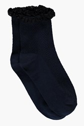 Boohoo Lace Frill Ankle Socks Navy