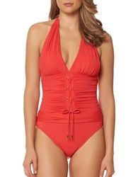 Bleu By Rod Beattie Cruise Control One Piece Halter Mio Swimsuit Red
