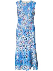 Monique Lhuillier Embroidered Flowers Dress Blue