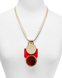 Marni Horn And Resin Pendant Necklace 24 White