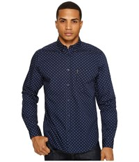 Ben Sherman Long Sleeve Classic Polka Dot Shirt Navy Blazer Men's Clothing