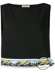 Emilio Pucci Printed Panel Cropped Top Black