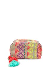 Forever 21 Abstract Woven Makeup Bag Cream Multi