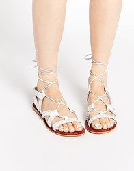 Asos For Love Leather Lace Up Sandals White