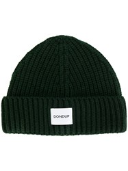 Dondup Ribbed Beanie Men Acrylic Wool One Size Green