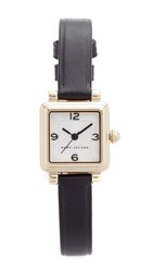Marc Jacobs Vic Leather Watch Gold Silvery White Black