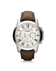 Fossil Grant Chronograph Leather Men's Watch Brown Ivory