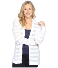 Michael Michael Kors Plus Size Sheer Stripe Open Cardi White Women's Sweater