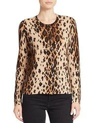 Lord And Taylor Cheetah Print Cardigan Honey Heather