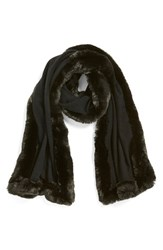 Women's Badgley Mischka Faux Fur Trim Wrap Black Black Grey
