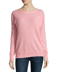 Minnie Rose Cashmere Relaxed Pullover Sweater Pink Cadillac