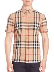 Burberry Short Sleeve Check Sportshirt Camel