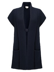 East Textured Knit Waistcoat Blue
