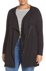 Plus Size Women's Bb Dakota 'John' Stretch Knit Asymmetrical Zip Jacket Black