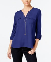 Inc International Concepts Petite Roll Tab Henley Only At Macy's Goddess Blue