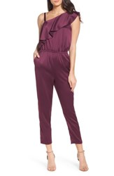 Ali And Jay Women's One Shoulder Jumpsuit Wine