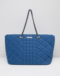 Silvian Heach Quilted Nylon East West Tote Bag With Chain Straps Blue