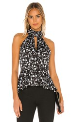 1.State 1. State Smocked Neck Romantic Vines Blouse In Black. Black Multi