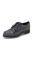 Studio Pollini Lace Up Oxfords Blue Multi Glitter