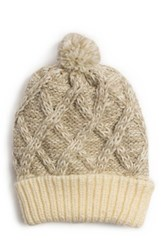 Muk Luks Textured Diamond Pom Cuff Cap White