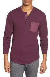 Men's Original Penguin Waffle Knit Pocket Henley Italian Plum