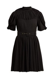 Emilia Wickstead Corinne Pleated Crepe Mini Dress Black