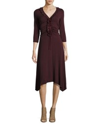 Max Studio 3 4 Sleeve V Neck Lace Up Dress Wine