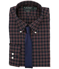 Lauren Ralph Lauren Poplin Checks Classic Dress Shirt Navy Red Men's Clothing Multi