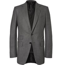 Tom Ford Grey O'connor Slim Fit Birdseye Wool And Silk Blend Flannel Suit Jacket Gray
