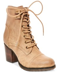 Madden Girl Wilmar Lace Up Hiker Booties Women's Shoes Stone
