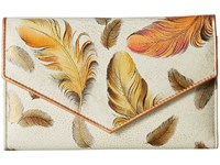 Anuschka 1006 Check Book Wallet Floating Feathers Ivory Handbags White