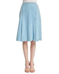 Adam By Adam Lippes Suede A Line Knee Length Skirt French Blue