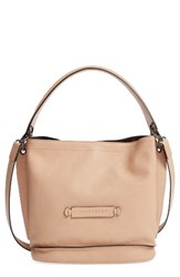 Longchamp '3D' Leather Crossbody Hobo Beige Sand
