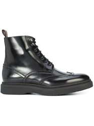Christian Dior Homme Lace Up Ankle Boots Leather Rubber Black