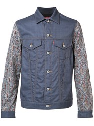 Comme Des Garcons Junya Watanabe Printed Sleeves Denim Jacket Blue