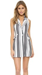 J.O.A. Suiting Stripe Romper White Black