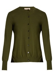 Marni Pleated Back Cotton Blend Cardigan Khaki