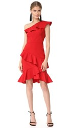 Marchesa Notte One Shoulder Cocktail With Ruffle Red