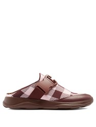 Christopher Kane Gingham Knit Trainer Slides Burgundy Multi