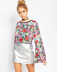 Jaded London Crochet Floral Crop Top With Flared Sleeve Multi